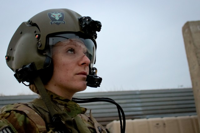 Chief Warrant Officer 2 Tristan Archambault at Bagram Airfield, Afghanistan. Archambault is the only female pilot in Task Force Wolfpack of the 82nd Combat Aviation Brigade.