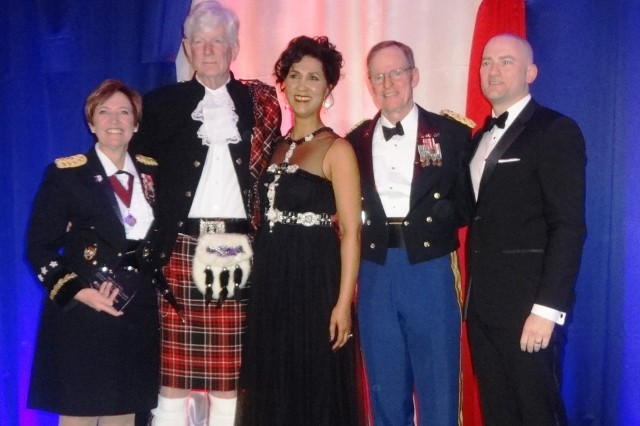 Lt. Gen. Patricia Horoho, Army surgeon general, stands with other awardees during the 2015 Heart Ball. From left, are Horoho, retired Col. William Devries, Board Chair for American Heart Association's Greater Washington Region Cheryl Campbell, Col. Frederick Lough, Army Lt. Col. Todd Villines, and the American Heart Association's president of the board of directors.