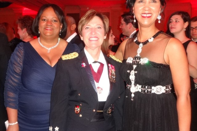 Lt. Gen. Patricia Horoho, Army surgeon general, poses during the 2015 Heart Ball reception with former U.S. Surgeon General Regina Benjamin and American Heart Association's Greater Washington Region Board Chair Cheryl Campbell.