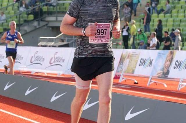 Greg Cheek runs a marathon in Munich, Germany.