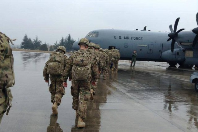 Paratroopers, from Headquarters and Headquarters Company, 1st Battalion, 503rd Infantry Regiment, 173rd Airborne Brigade, arrive in Turkey, March 10, 2015, begin sentry duties as part of NATO Operation Active Fence.