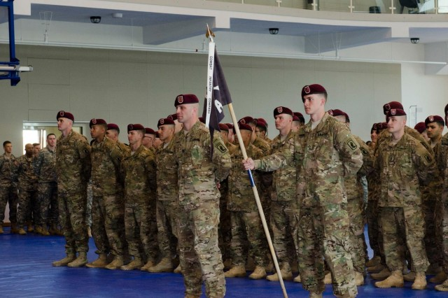 Paratroopers, from Company A, 2nd Battalion, 503rd Infantry Regiment, 173rd Airborne Brigade, arrive back home at Vicenza, Italy, March 12, 2015, after a rotation in Turkey as part of NATO Operation Active Fence.