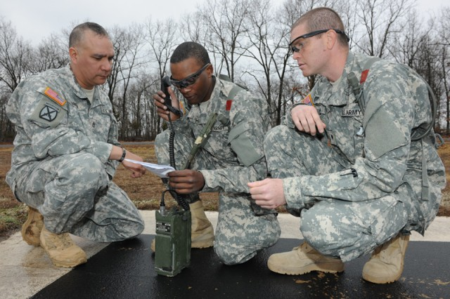 Sgt. 1st Class Jimmy Garcia, Co. E, 1-48 drill sergeant, assists Pvt. Cameron Lynn and Spc. Raul Medina, with sending a close-air-support request.