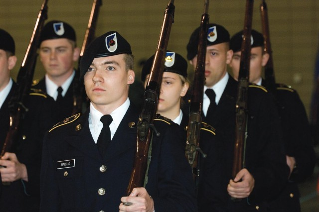 Reserve Officers' Training Corps cadets from Appalachian State University, Boone, N.C., compete in the 2015 John J. Pershing Memorial Drill Competition on March 14 at the Greater Richmond Convention Center. More than 400 college and high school students from across the country took part in the event.