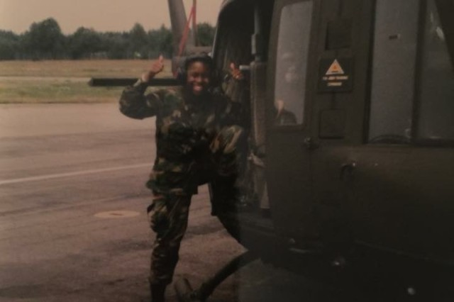 Sgt. Maj. Tanya Hudnall is now the equal opportunity adviser for the 4th Brigade, 95th Division (Initial Entry Training) but also the sergeant major for the Deployable Command Post for the 416th Theater Engineer Command. This photo was taken of her in Hohenfels, Germany, in 1997 during an annual training exercise with the 961st Engineer Battalion doing road construction. She is one of the women interviewed to give a woman's perspective of what it's like to serve in the Army as a female Soldier. (Courtesy photo)
