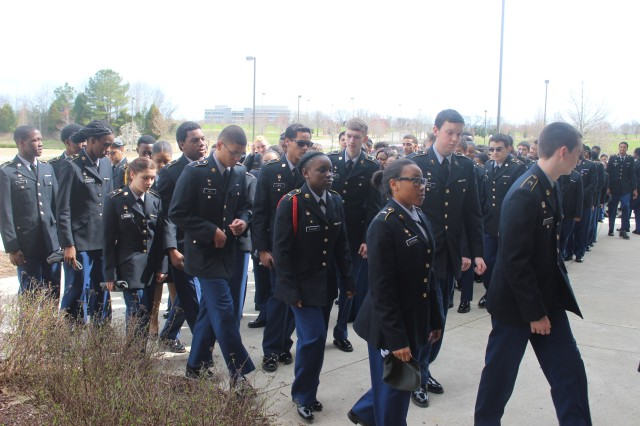 The JROTC cadets at Columbia High file into the building for their ninth annual awards day March 18.