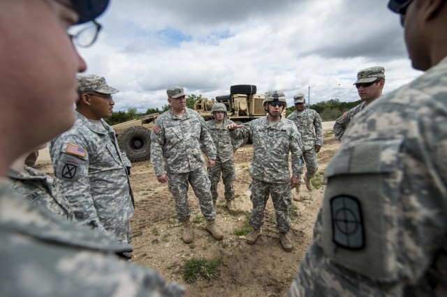 Staff Sgt. Raul Martinez, a squad leader with the 277th Engineer Company (Horizontal), instructs fellow Soldiers while staging vehicles at Camp Bullis, Texas, March 22, 2015.