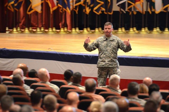 Gen. David Perkins, TRADOC commanding general, briefs Fort Jackson Soldiers on the Army Operating Concept March 24, 2014, at the Post Theater.