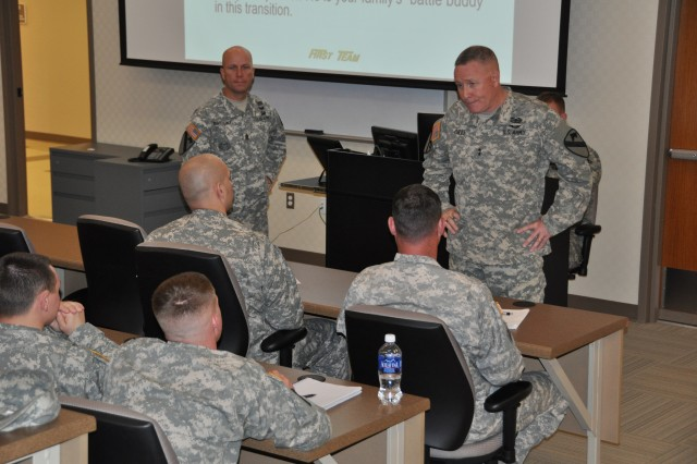 The 1st Cavalry Division command team speaks to Fort Leonard Wood Soldiers March 23 about their projected transition to the 1st Cavalry Division at Fort Hood, Texas.