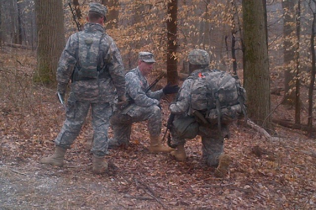 Command Sgt. Maj. Harold E. Dunn IV (center), the senior enlisted leader of the 20th CBRNE Command, guides the inaugural CBRNE Leaders Course at Gunpowder Range, Md., March 26, 2015.