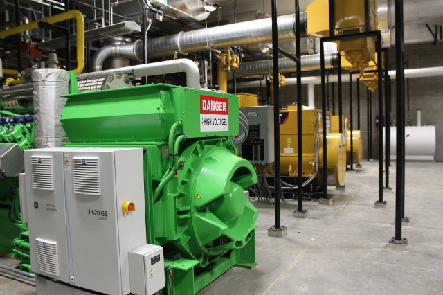The byproduct of the electricity producing generators is heat, which is captured using a combined heat and power process to heat and cool buildings and provide demand backup power to the entire post.