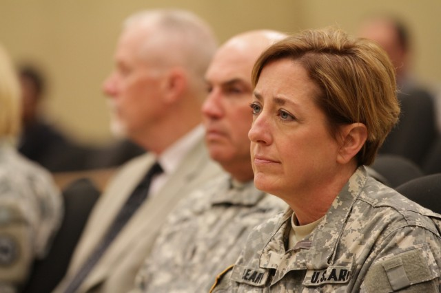 Brig. Gen. Mary Kate Leahy attends the 81st Regional Support Command Black History Month observance.
