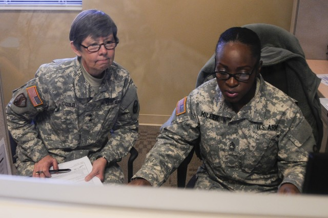Maj. Gen. Janet Cobb participates in the 81st Regional Support Command's Soldier readiness processing during Headquarters and Headquarters Company battle assembly weekend.