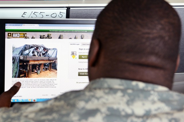 A Soldier opens the Army Knowledge Online website, March 30, 2015, to try and check his AKO email one last time.