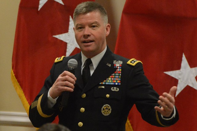 Gen. David C. Perkins, commander, U.S. Army Training and Doctrine Command, speaks at the George C. Marshall Award ceremony at Fort Leavenworth, Kan., March 30, 2015.