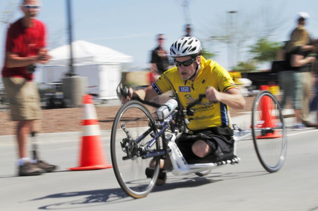 Sgt. Stefan Leroy, native of Santa Rosa, Calif., races to the finish line during the U.S. Army Trials 2015 at Fort Bliss, Texas, March 29, 2015. Leroy was a cavalry scout before he lost both his legs during deployment. (U.S. Army photo by: Spc. Maricris C. Cosejo)