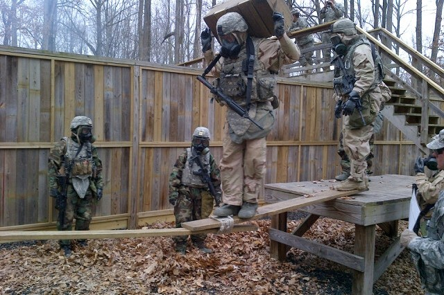 Soldiers, from throughout the nation, participate in the first Chemical, Biological, Radiological, Nuclear and Explosive Leaders Course at Gunpowder Range, Md., March 24 - April 2, 2015.