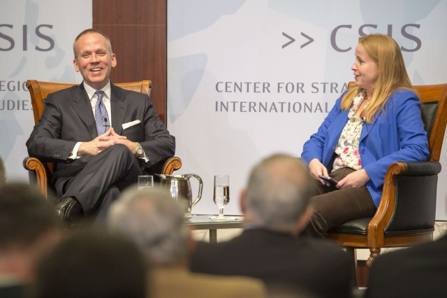 Undersecretary of the Army Brad R. Carson shares a laugh with Maren Leed, senior adviser for Harold Brown Chair in Defense Policy Studies. Carson spoke at the Center for Strategic and International Studies in Washington, D.C., April 1, 2015.