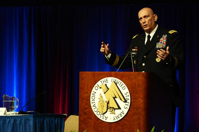 Army Chief of Staff Gen. Ray Odierno discusses the Army Operating Concept and fiscal challenges during the 2015 Association of the United States Army Global Force Symposium and Exposition in Huntsville, Alabama, April 1, 2015.