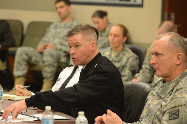Gen. David C. Perkins, commander of U.S. Army Training and Doctrine Command, makes a point during Colloquium 2015 on Fort Leavenworth, Kan., March 30, 2015.