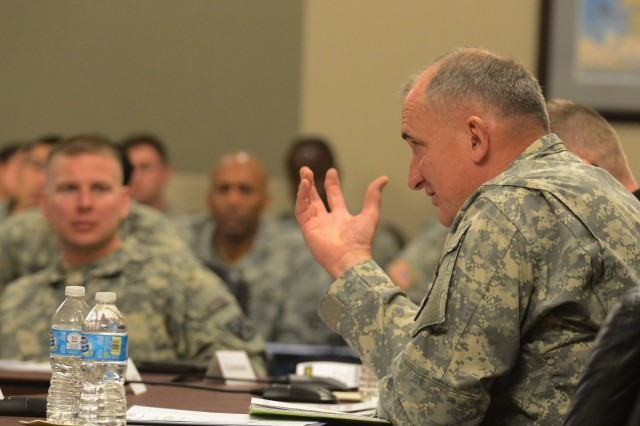 Lt. Gen. Bob Brown, commander of Combined Arms Center, makes a point at Colloquium 2015 on Fort Leavenworth, Kan., March 30, 2015.