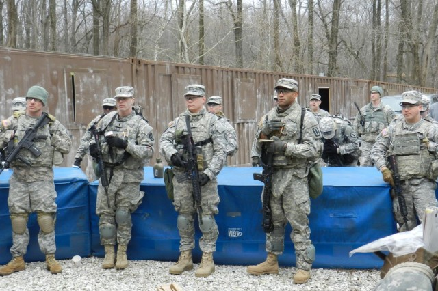 Soldiers from the 20th CBRNE Command prepare to take on mock enemy forces during the inaugural CBRNE Leaders Course at Gunpowder Range, Maryland, March 31.