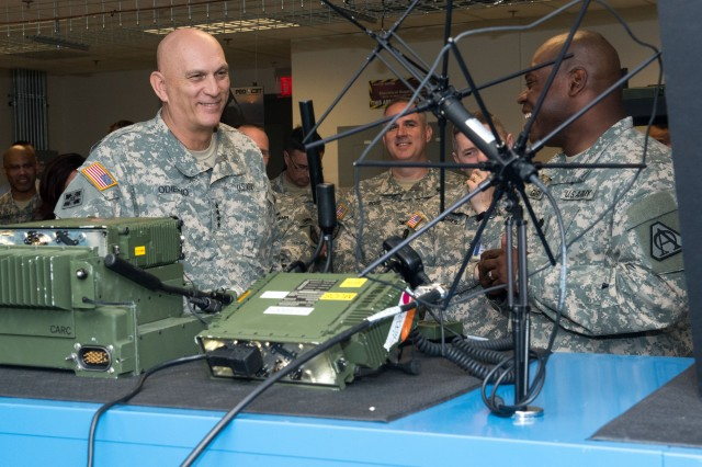 Army Chief of Staff Gen. Ray Odierno receives a brief on tactical radio efforts on Aberdeen Proving Ground, Md., April 7, 2015.