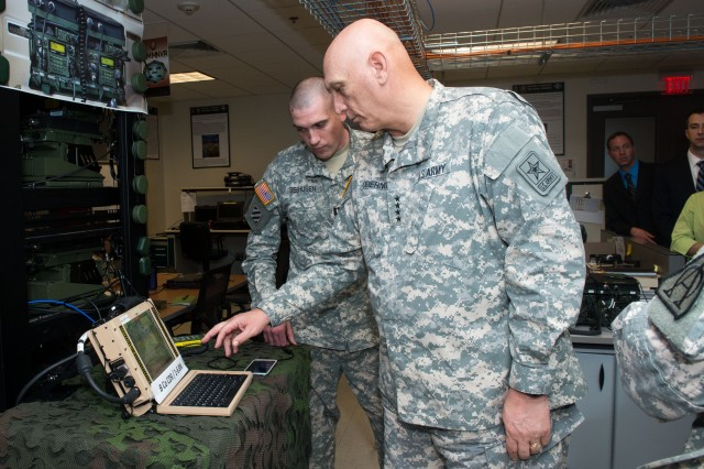 Army Chief of Staff Gen. Ray Odierno uses the Joint Battle Command-Platform system to view friendly-force locations during a visit to Aberdeen Proving Ground, Md., April 7, 2015.