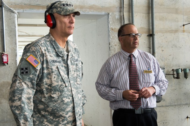 Army Chief of Staff Gen. Ray Odierno observes barricade testing during a tour of Aberdeen Proving Ground, Md., April 7, 2015.