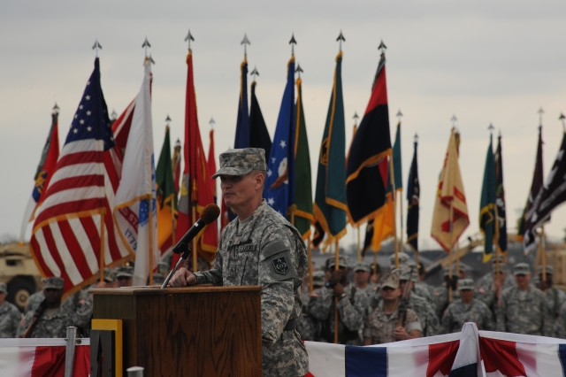 Brig. Gen. Kent Savre, Maneuver Support Center of Excellence and Fort Leonard Wood commanding general, addresses those in attendance at the change-of-command ceremony held April 7 on Gammon Field. Savre comes to MSCoE from the U.S. Army Corps of Engineers.
