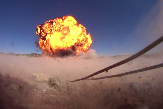 Soldiers, from the 741st Explosive Ordnance Disposal Company, destroy ordnance at New Mexico Tech's Energetic Materials Research Testing Center in Socorro, New Mexico.