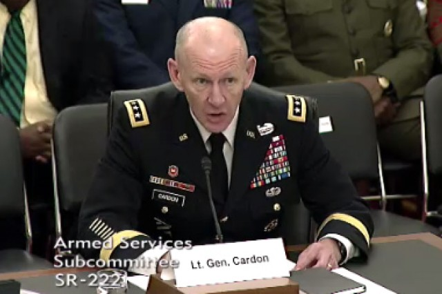 "Lt. Gen. Edward C. Cardon tells senators that cyber security is every Soldier's business. Cardon, commander of U.S. Army Cyber Command, testified on a panel during a Senate Armed Services subcommittee on emerging threats and capabilities, ""Military Cyber Programs and Posture,"" hearing, April 14, 2015."