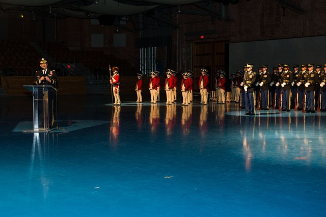 Army Chief of Staff Gen. Ray Odierno delivers remarks during a special Twilight Tattoo on Joint Base Myer-Henderson Hall, Va., April 14, 2015.