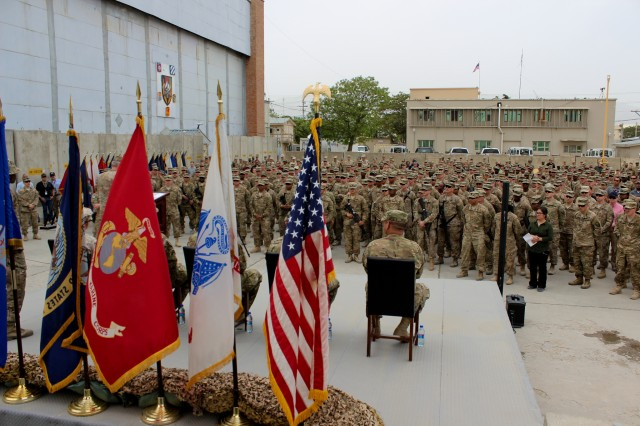 A heroes' cordon surrounded the Resolute Support Facility compound today to welcome five Wounded Warriors to Bagram Airfield--two of which are Medal of Honor recipients.