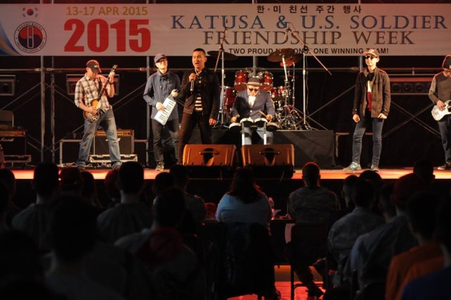 U.S. and KATUSA Soldiers perform together at a talent show during the 2015 KATUSA-U.S. Soldiers Friendship Week Apr. 15 at U.S. Army Garrison Yongsan, Seoul, Republic of Korea.