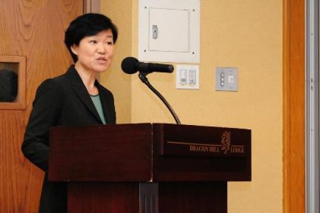 Ms. Jinsook Lee, CEO of Daejeon Munhwa Broadcasting Company, talks about her curiosity, challenge and patience during her time as a war correspondent in the Middle East,  Mar. 31 at the 2015 Women's History Month Observance at Dragon Hill Lodge, U.S. Army Garrison Yongsan, Seoul, Republic of Korea.