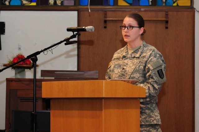 Sgt. Heather Franke, 1st Signal Brigade, recounts her personal experience as a survivor of a sexual assault in order to raise awareness and prevent incidents like hers from happening during the 2015 Sexual Assault Awareness and Prevention Month Kick-off Ceremony Apr. 1 at U.S. Army Garrison Yongsan, Seoul, Republic of Korea.