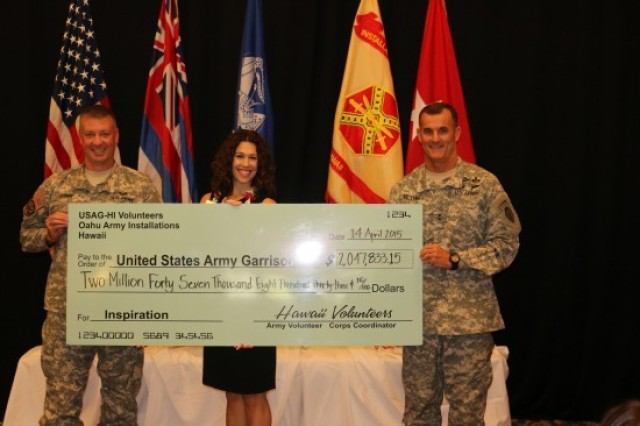 "A check for $2,047,833.15 reflects the amount of money volunteers ""paid"" U.S. Army-Hawaii by donating their time to USARHAW programs. It  was presented to Col. Richard Fromm (left), commander, U.S. Army Garrison-Hawaii, and Maj. Gen. Charles Flynn, senior commander, USARHAW, at the Volunteer Recognition Ceremony, April 14, at the Nehelani, Schofield Barracks."