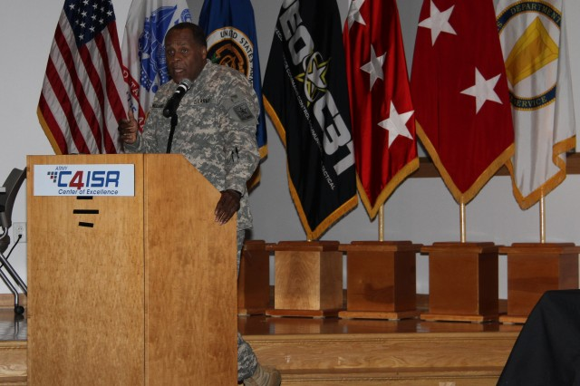 """During a tactical network industry forum, April 21, 2015, Lt. Gen. Michael Williamson, principal military deputy to the assistant secretary of the Army for acquisition, logistics and technology, discussed how research and development efforts constitute the """"seed corn for future programs"""" that will support Force 2025 and Beyond."""