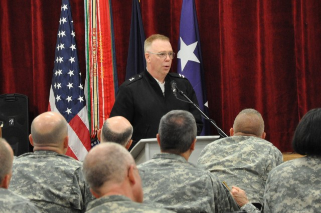 Chaplain (Maj. Gen.) Donald Rutherford, Army chief of chaplains, speaks to the chaplains and chaplain assistants who took part in the 2015 Strategic Operational Readiness and Training Assessment Forum (SORTAF), held at Fort Bragg April 14-16. (U.S. Army photo by Carol Eubanks, FORSCOM Public Affairs)
