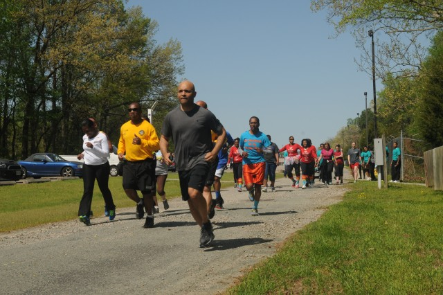 Twenty one Fort Lee active duty Soldiers along with 80th Training Command (TASS) headquarters Reserve Soldiers, Department of the Army Civilians and family members kick off the third annual Sexual Harassment Assault and Response Prevention 5k run and walk event at the Defense Logistics Agency Compound in Richmond, Va., April 22, 2015. The unit conducted the event in observance of Sexual Assault Awareness Month.