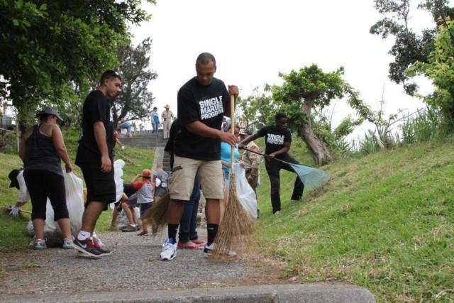 Marines help clean