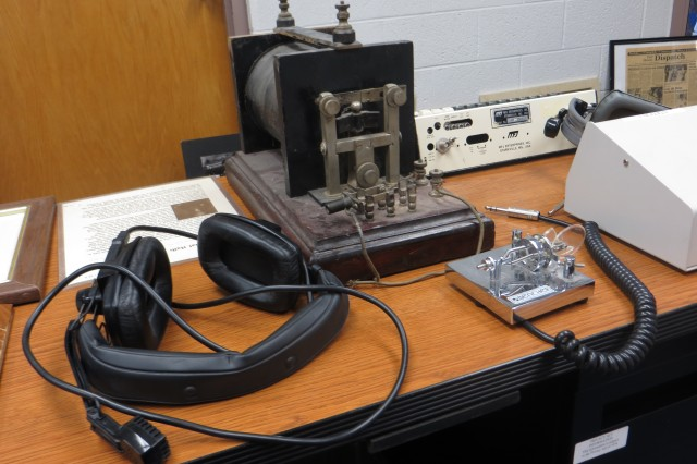 Morse code training equipment from various eras of instruction are displayed on Fort Huachuca, Ariz.