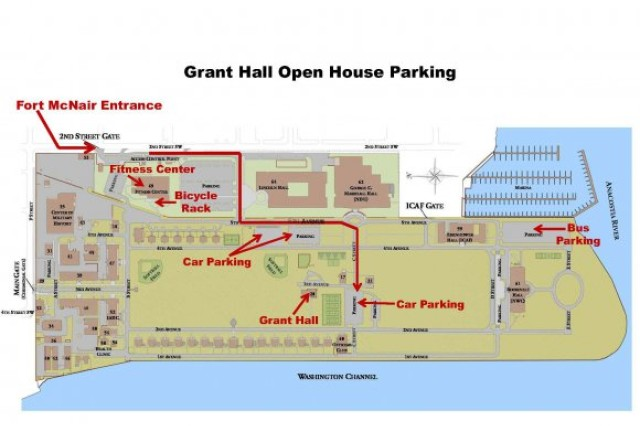 This map provides directions to access Fort McNair in Washington, D.C., and how to reach Grant Hall.