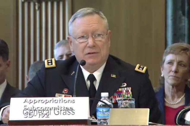 Gen. Frank J. Grass, National Guard Bureau chief, testifies during the Senate Appropriations Committee - Defense subcommittee on the Fiscal Year 2016 National Guard and Reserve Budget in Washington, D.C., April 29, 2015.