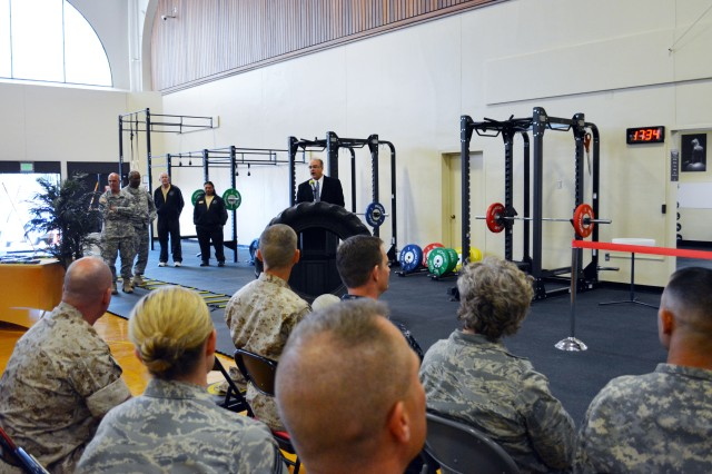 """PRESIDIO OF MONTEREY, Calif. -- The Presidio of Monterey recently opened its own functional fitness facility to help service members lower the risk while improving fitness. While you might be hearing a lot about """"functional fitness,"""" there is good reason: Functional fitness trains the body to handle real-life situations."""