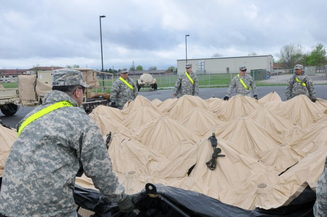 Soldiers with the 3rd Sustainment Command (Expeditionary) set up the 3rd ESC's Early Entry Command Post April 20 at the Mission Command Training Center on Fort Knox. The EECP is a Sustainment Mission Command Headquarters and is capable of providing a variety of logistical functions.