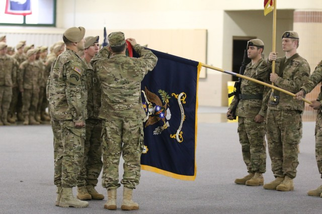 Gen. Daniel B. Allyn, Army vice chief of staff, presents the Meritorious Unit Citation to 1st Battalion, 75th Ranger Regiment, for exceptionally meritorious service May through August 2011 in support of the surge into Afghanistan on Hunter Army Airfield in Savannah, Ga., April 29, 2015.