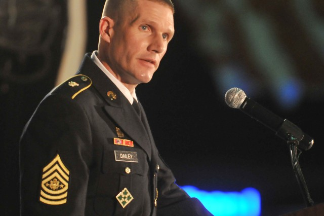Sgt. Maj. of the Army Daniel A. Dailey addresses attendees during the Civilian Aide to the Secretary of the Army National Conference Dinner at the U.S. Space & Rocket Center in Huntsville, Ala., May 6, 2015.