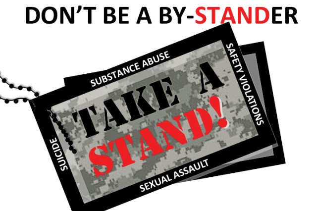 The Take A STAND! logo promotes awareness of sexual assault, suicide, substance abuse, and safety violations.